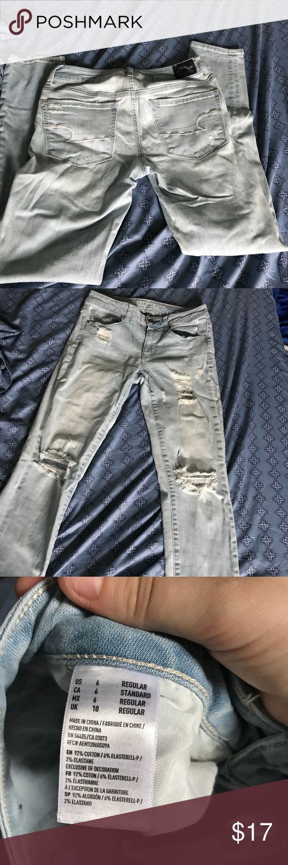 American Eagle Jeggings, Size 6 Great condition with stretchy material! Light wash denim. American Eagle Outfitters Jeans Skinny