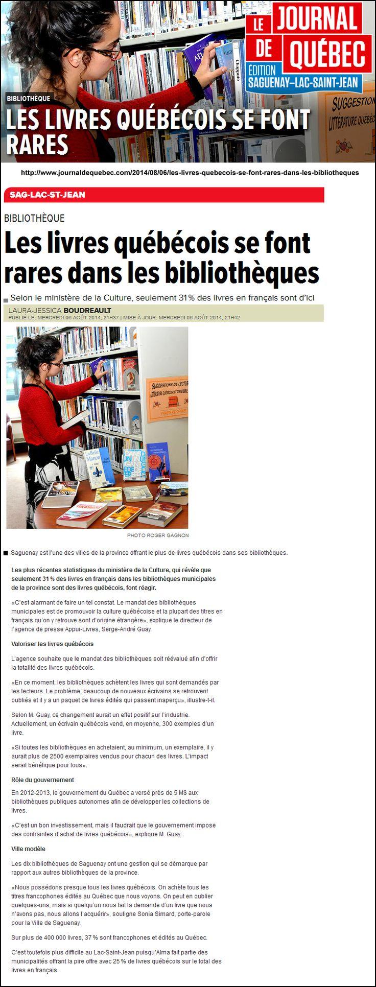Les livres québécois se font rares dans les bibliothèques vis Le Journal de Québec Saguenay-Lac-St-Jean