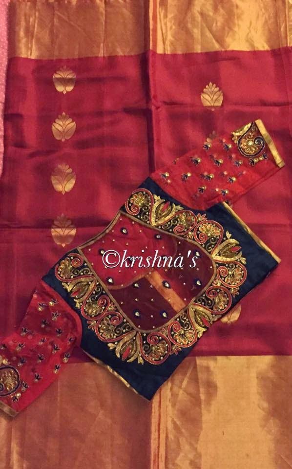 Silk saree paired with embroidered net designer blouse. For inquiries contact: Email id : krishnaboutiquecreations@gmail.com Phone number :7134473193 India : 9848714285 Facebook page : https://www.facebook.com/Krishnaboutiquehyderabad Related PostsMaggam Work Designer BlousesCollar Neck Net Blouse DesignsTrendy Collar Neck Designer BlouseElegant Sarees with Designer Blouses