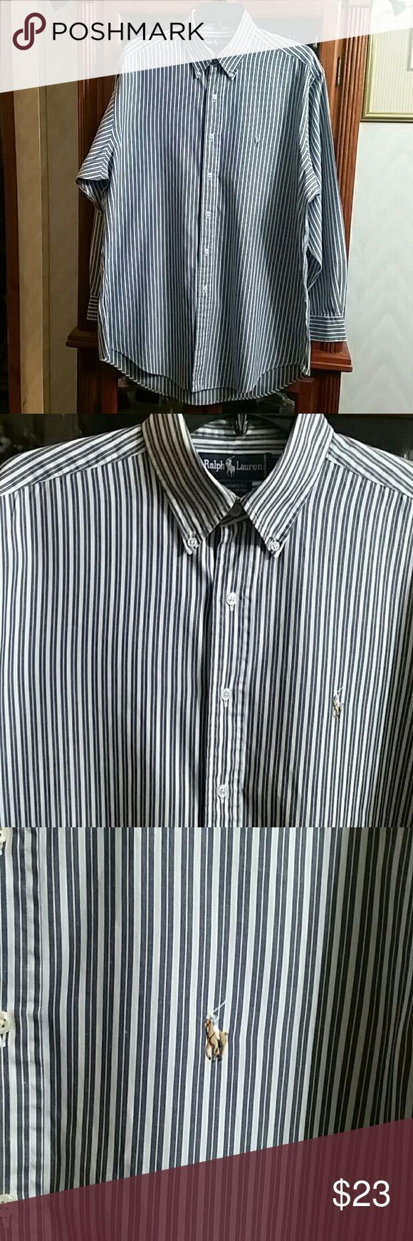 Men Ralph Lauren Shirt Size 16-33 Yarmouth,  100% Cotton. Good Condition.  Blue and White. Ralph Lauren Shirts