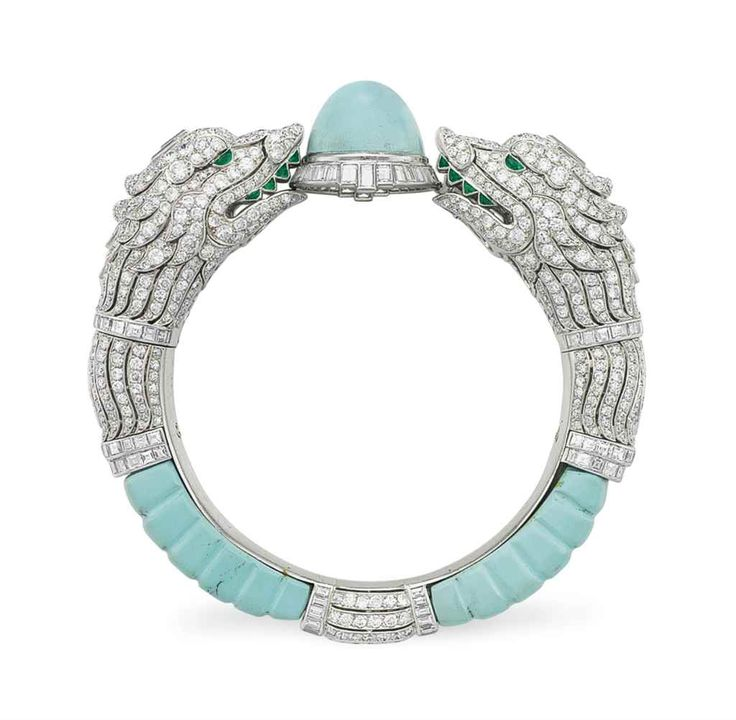 AN ART DECO DIAMOND, TURQUOISE