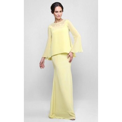 Rozeini Kurung in Canary Yellow