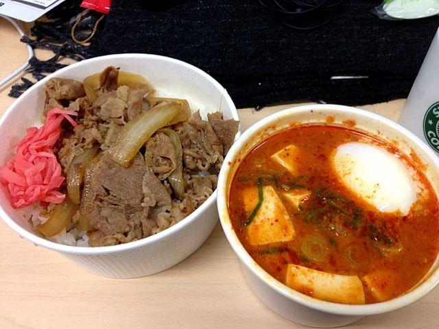 豪華!一度やってみたかった(笑) - 9件のもぐもぐ - 牛丼 豆腐チゲセット by chan mitsu