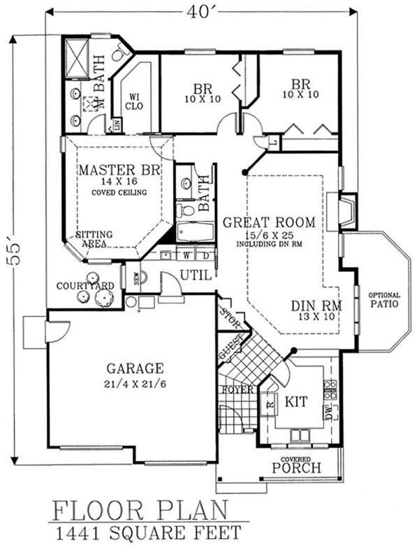 Craftsman House Plan 46210 Level One