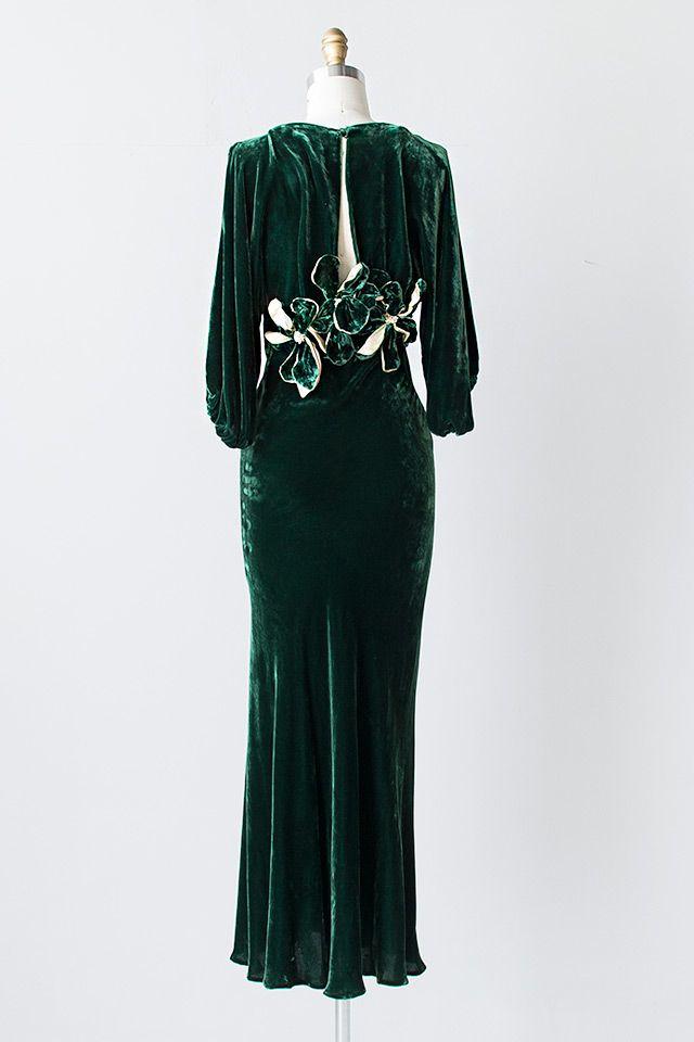 vintage 1930s green silk velvet open back gown Lo…
