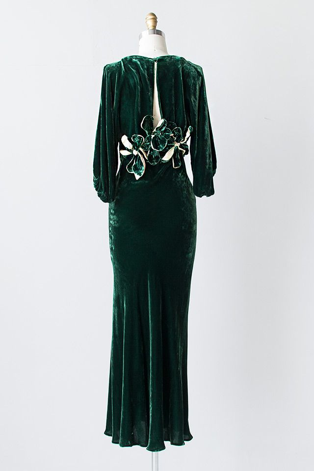 vintage 1930s green silk velvet open back gown