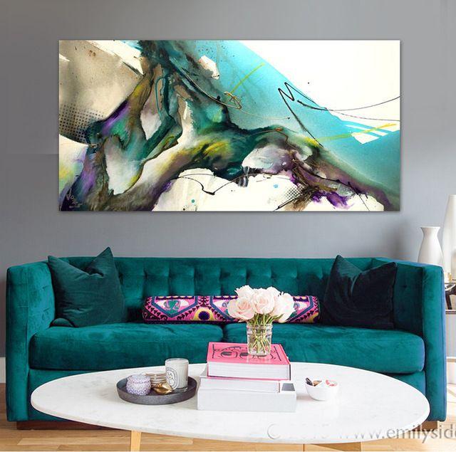 Acuarela pintada a mano abstracta moderna pintura al leo - Decoracion hogar original ...