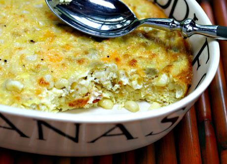 Corn, green chile, egg and cheese casserole, for breakfast or dinner.