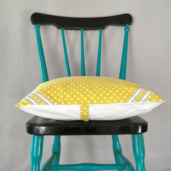 Lemon Yellow Cushion cover with braid detail by VillaPernilla