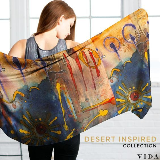 Cashmere Silk Scarf - Seven Beauties Pattern I by VIDA VIDA