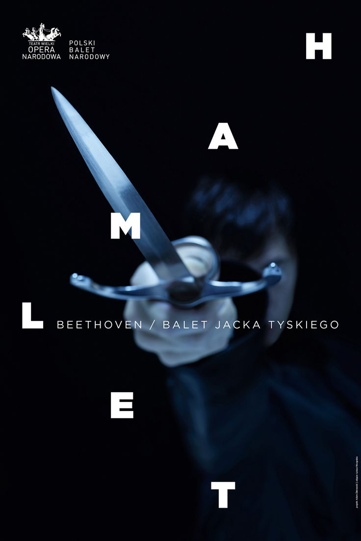 Theatrical poster for Hamlet play choreographed by Jacek Tyski for Polish National Ballet