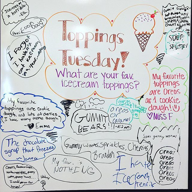 Today I learned that I have multiple students in my class that hate ice cream... I didn't know this was possible  This question was inspired by my teaching partner in crime @math_charger! #toppingstuesday #5thgradeinfloridaswhiteboard #miss5thswhiteboard #icecream #icecreamtoppings #iteachfifth #iteach5th #whiteboardquestion #secondyearteacher #floridateachers