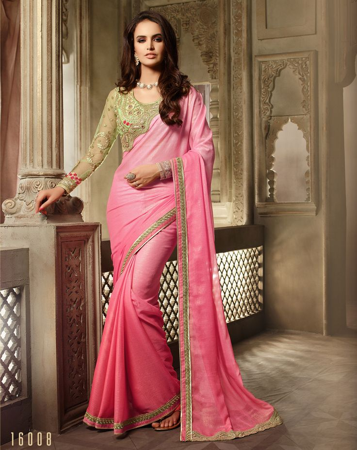 #Lalgulal #Pink Chiffon Shimmer Embroidery #DesignerBlouse #Partywear #Bridemate #Saree. Buy Now :- http://www.lalgulal.com/sarees/pink-chiffon-shimmer-embroidery-designer-blouse-partywear-bridemate-saree-683 To Order Visit our #Website or You can Call or #Whatsapp us on +91-95121-50402.  #COD & #FreeShipping Available only in India.