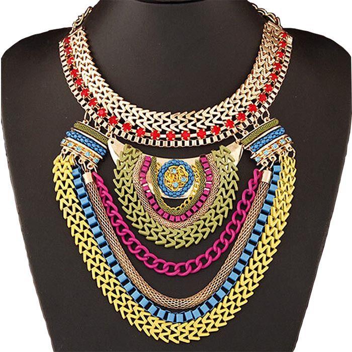 Bohemia Multilayer Warna Chain Link Pernyataan Kalung Wanita Kalung Liontin & Perhiasan untuk Hadiah Pesta