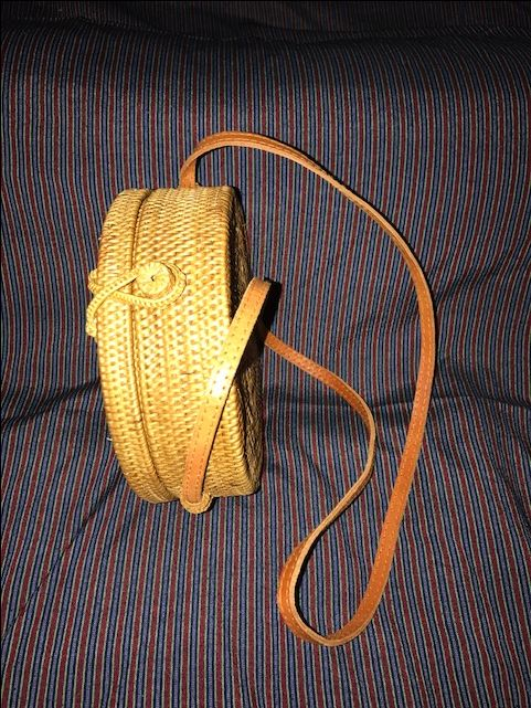 Round Ata Rattan Shoulder Bag