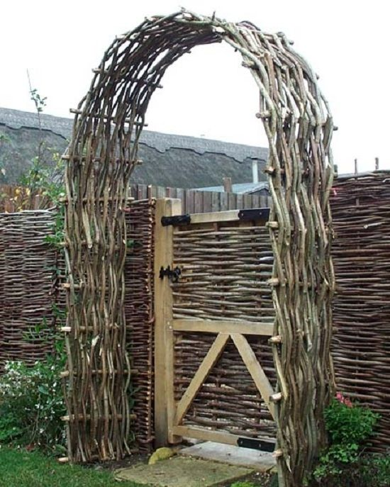 Wattle arch of hazel. Hazel is the most common wood used for wattling in Europe. naturalfencing.com
