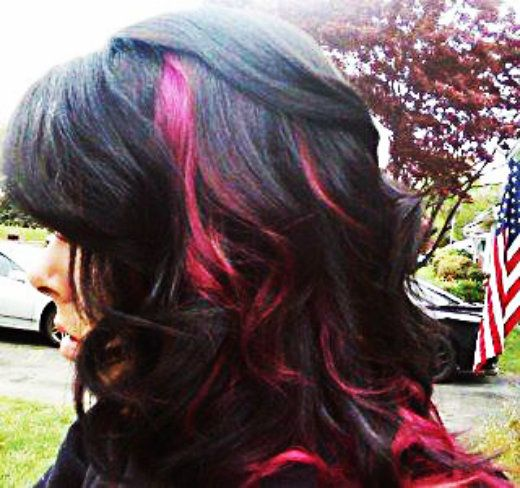 36 best hair for devynn and grace images on pinterest hairstyles black hair with hot pink peek a boo highlights peek a boo highlights pmusecretfo Images