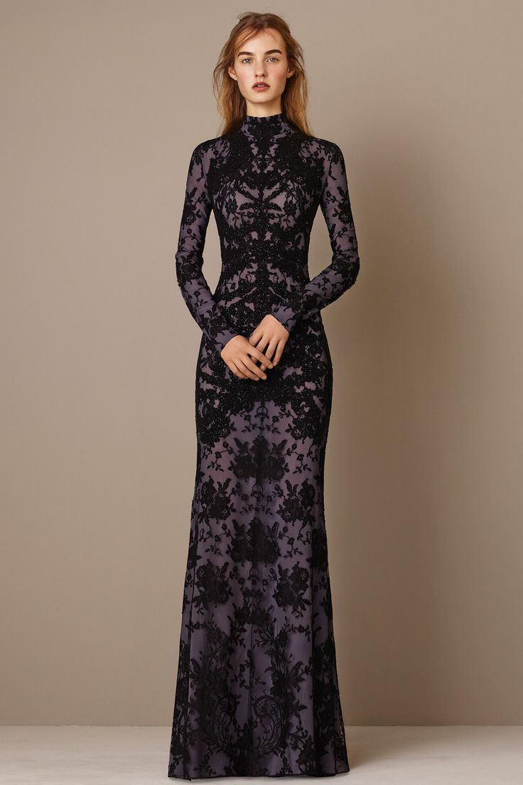 Alexander McQueen | Pre-Fall 2015 | 18 Purple long sleeve maxi dress with black lace overlay