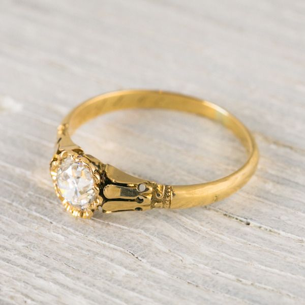 Image of .70 Carat Yellow Gold Antique Victorian Engagement Ring