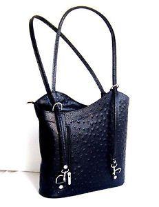 Tasche-Handtasche-Rucksack-2-in-1-Leder-Design-Muster-Strauss-Made-in-Italy