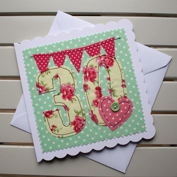 30th Birthday Card Handmade Machine Embroidered 30