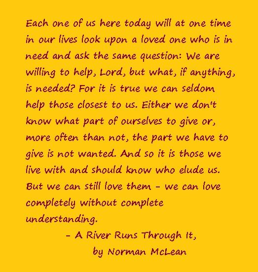 an analysis of a river runs through it by norman mclean Our reading guide for a river run through it by norman maclean includes a book club discussion guide, book review, plot summary-synopsis and author bio.