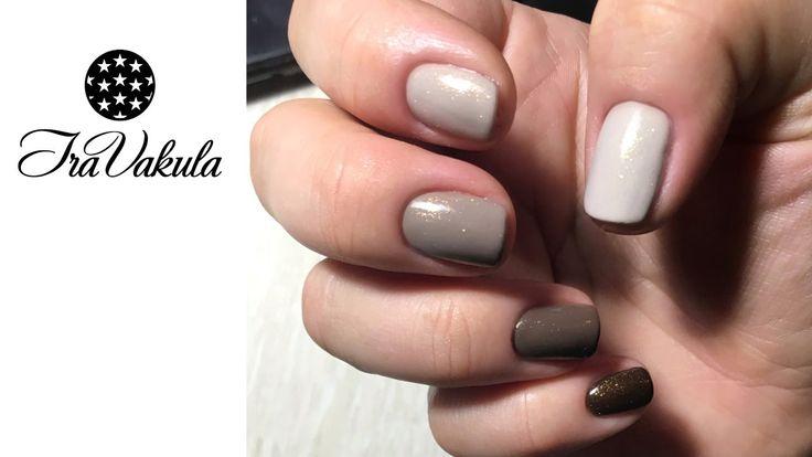 Gel Polish with Golden glitter Nail Art - Ногтевой дизайн: гель-лак с зо...