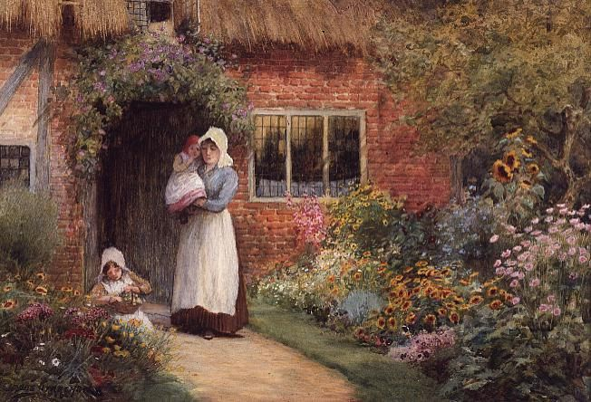 Mother And Children Outside A Cottage Cross by lesleybradshaw1