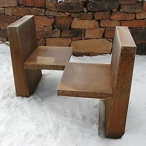 """..'Conversation Bench 1'  Metal Bench...""  I imagine the conversation would be something like ..."" what idiot makes a metal bench to sit on in the snow? ""..."" I know! I can't feel my @$$!"""