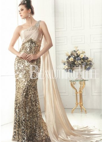 $228.49 Gorgeous One-Shoulder Sheath/Column Satin Shawl Evening Dress With Sequins And Beading