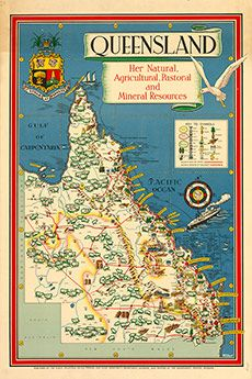 Poster Map of Queensland - Her Natural, Agricultural, Pastoral and Mineral Resources