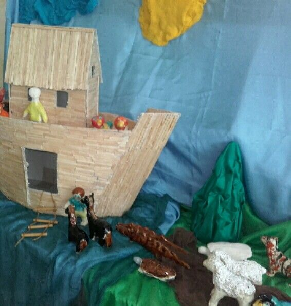 Noah's Ark, clay and wood model, 3rd grade students work
