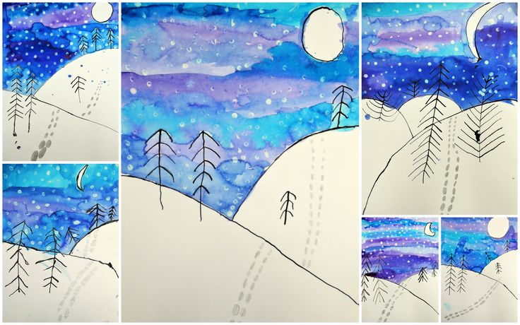 """Zimní krajina - tuš, anilinky, bílá tempera nanášená """"uchošťourem"""" - 2. třída (inspirace z internetu)"""