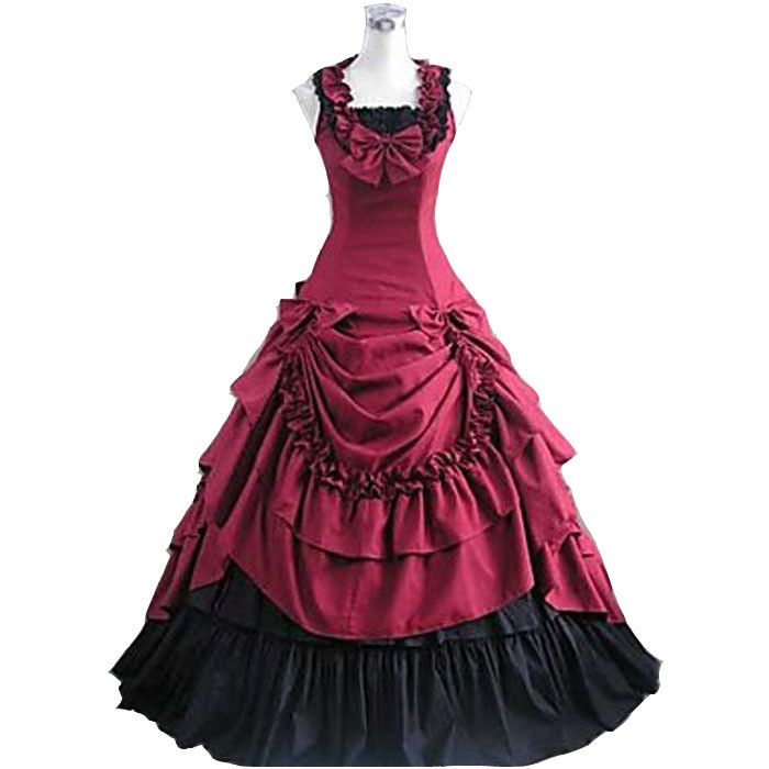 Rowan Red Victorian Lacey Dress Halloween-Costumes-For-Women-Adult-Southern-Belle-Costume-Red-Victorian