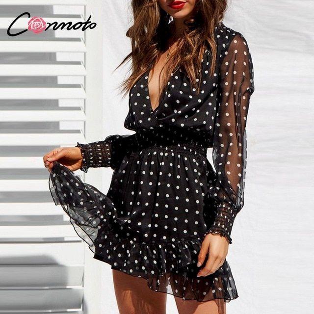 Malha de renda mangas compridas vestido preto vneck polka dot dress mulheres verão casual plissado camisa vestido vestidos   – swing