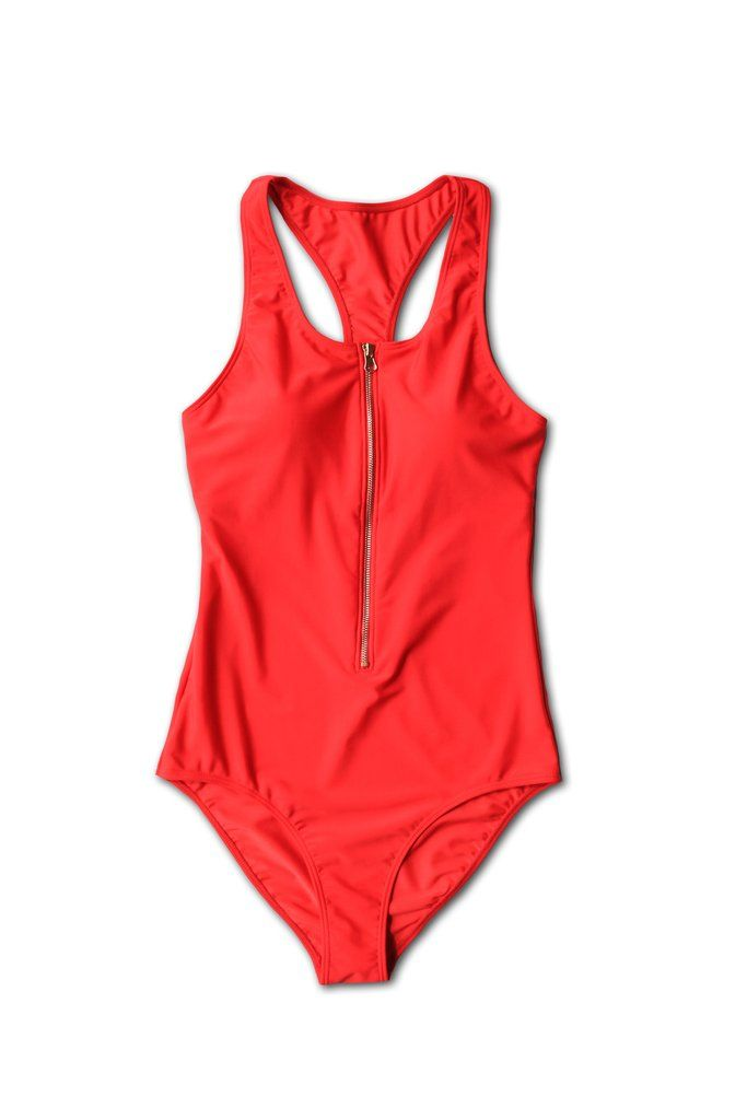 The Jenna is a sporty, comfortable one-piece bathing suit accented with agold zipper. This suit featuresbeautiful red, high-end swim fabric. Supportive shelf