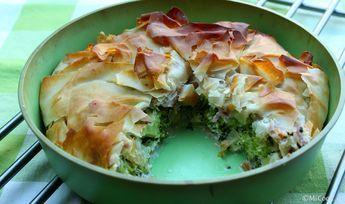 Krokante broccolitaart met feta, griekse yoghurt en ham (filodeeg)