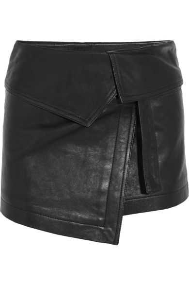 ISABEL MARANT Hutt fold-over leather mini skirt