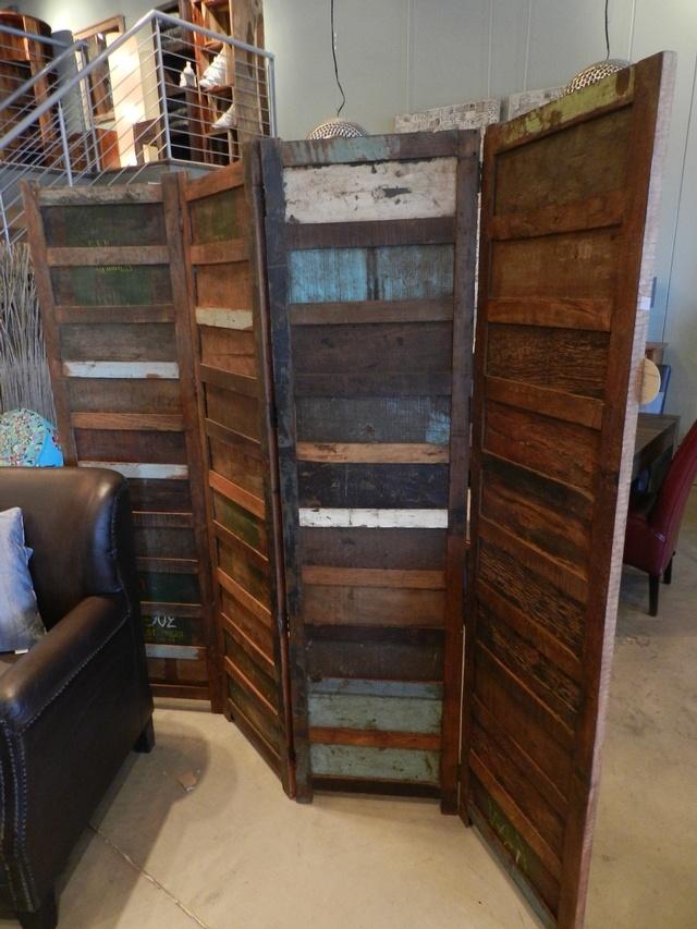 Paravent 4 sections en bois recyclé