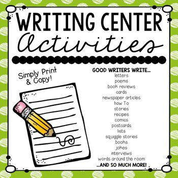 This writing center creates student independence and gives them the choice! Great to use during writing, when students finish early, or Daily 5! Great for the ENTIRE YEAR!