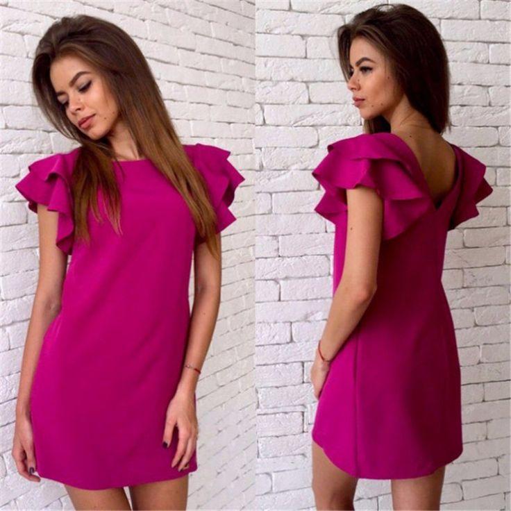 2017 moda para mujer de estilo manga de la mariposa del verano casual dress rojo backless atractivo beach mini vestidos del club del partido más tamaño