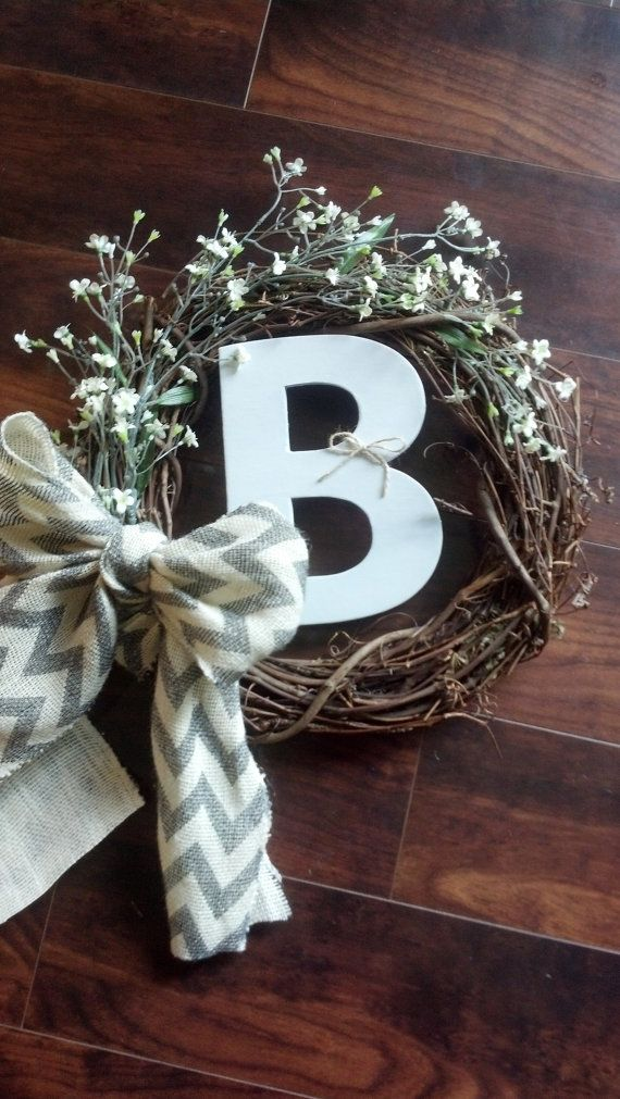 Personalized chevron burlap wreath!