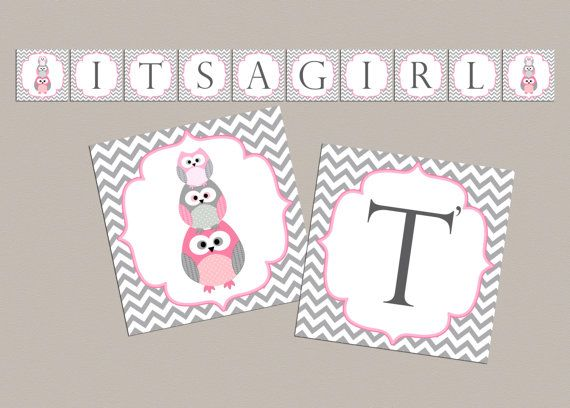 Girl Baby shower banner Its a girl owl baby shower by diymyparty