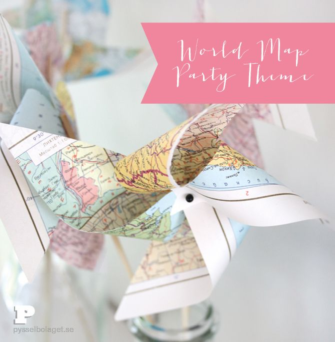 World Map Party Theme, Pinweels - cute idea for table centerpiece for women's ministry event on missions