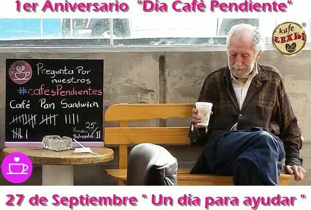 Te invitamos a participar en el Día Café Pendiente que se llevará a cabo  en TODO México. Así celebraremos juntos el primer aniversario de la iniciativa en nuestro país. Será un día para celebrar la solidaridad y generosidad de los mexicanos al salir a las calles y entregar miles de Cafés o Platillos Pendientes.  #YoSoyCafePendiente #AllYouNeedIsLove #Desayunos #ChaiLatte #Capuccino #Hotcakes #Molletes #Chilaquiles #Enchiladas #Omelette #Huevos #Jamón #Mexicana #Jugos #Naranja #Malteadas…