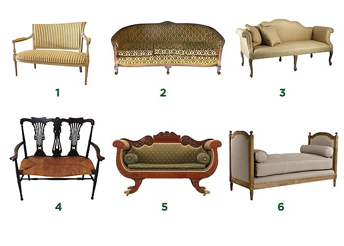A Guide to Types and Styles of Sofas & Settees. 1) Settee. 2) Cabriole sofa. 3) Camelback sofa, originated by Thomas Chippendale. 4) 2-chair-back settee. 5) Empire-style sofa. 6) Daybed.