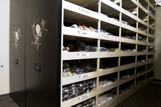 Hockey Equipment Mobile Shelving Storage for the Pittsburgh Penguins.