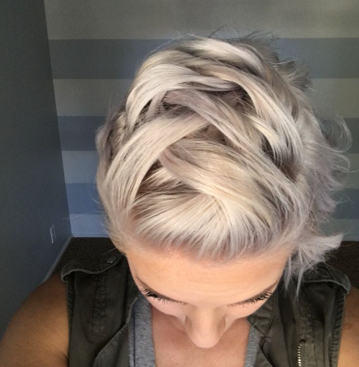 Faux mohawk braid on short hair