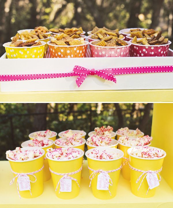 You Are My Sunshine Birthday Party {Modern & Bright}  Use bright yellow cups for drinks or for food.