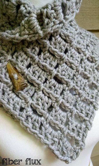 Fiber Flux: Free Crochet Pattern...Margaret Button Cowl!